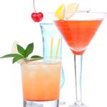Cocktails alcohol drinks spirits mojito, mai tai, margarita, mar